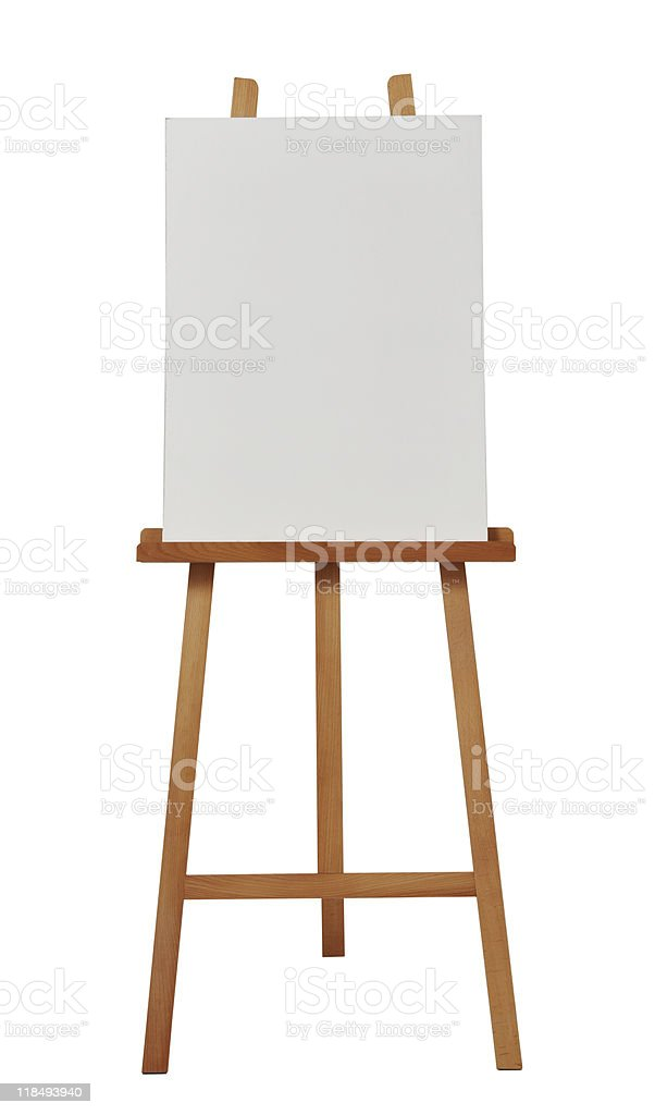 Blank portrait canvas placed on a brown wooden easel royalty-free stock photo
