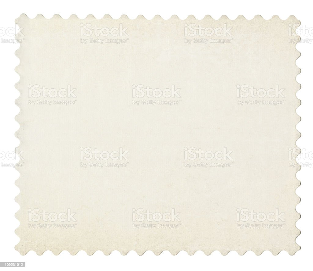 Blank post aged stamp isolated on white. stock photo