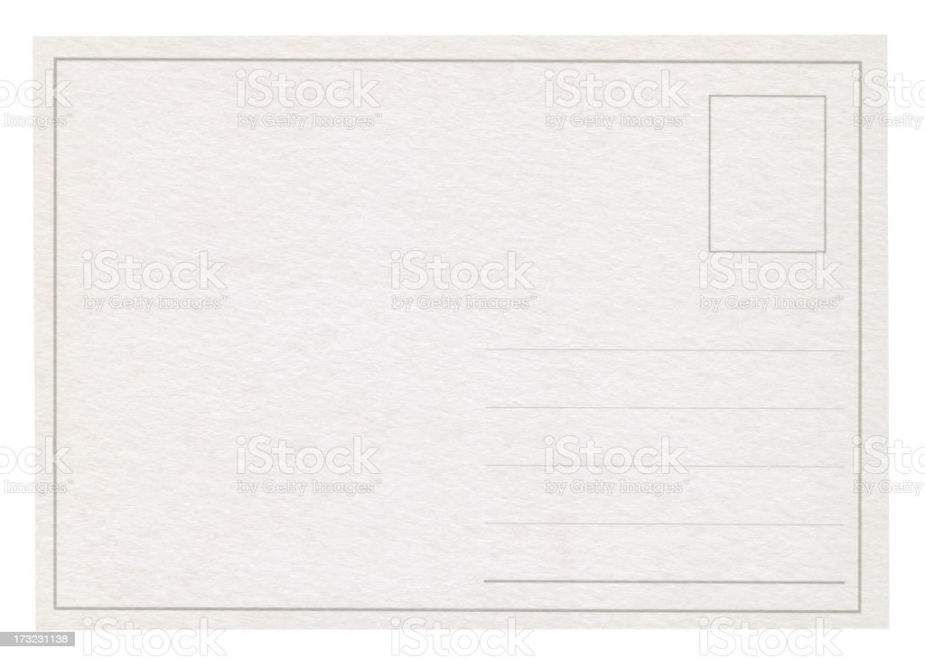 A blank post card isolated on white stock photo
