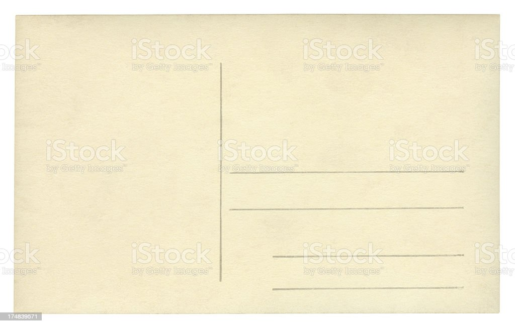 Blank post card isolated (clipping path included) royalty-free stock photo