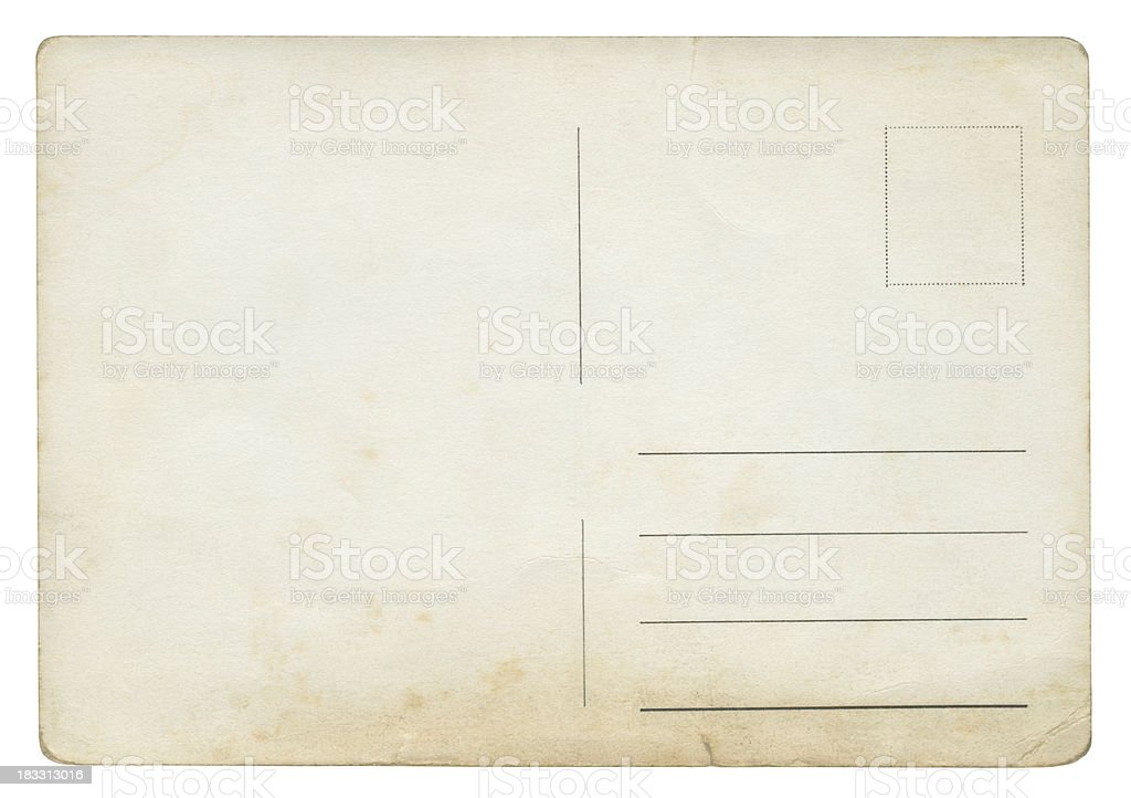 Blank post card isolated (clipping path included) stock photo