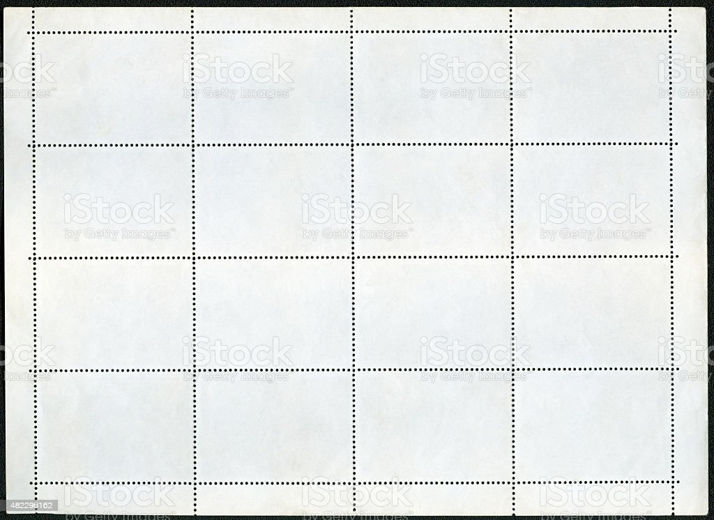 Blank postage stamp block souvenir sheet on a black background stock photo