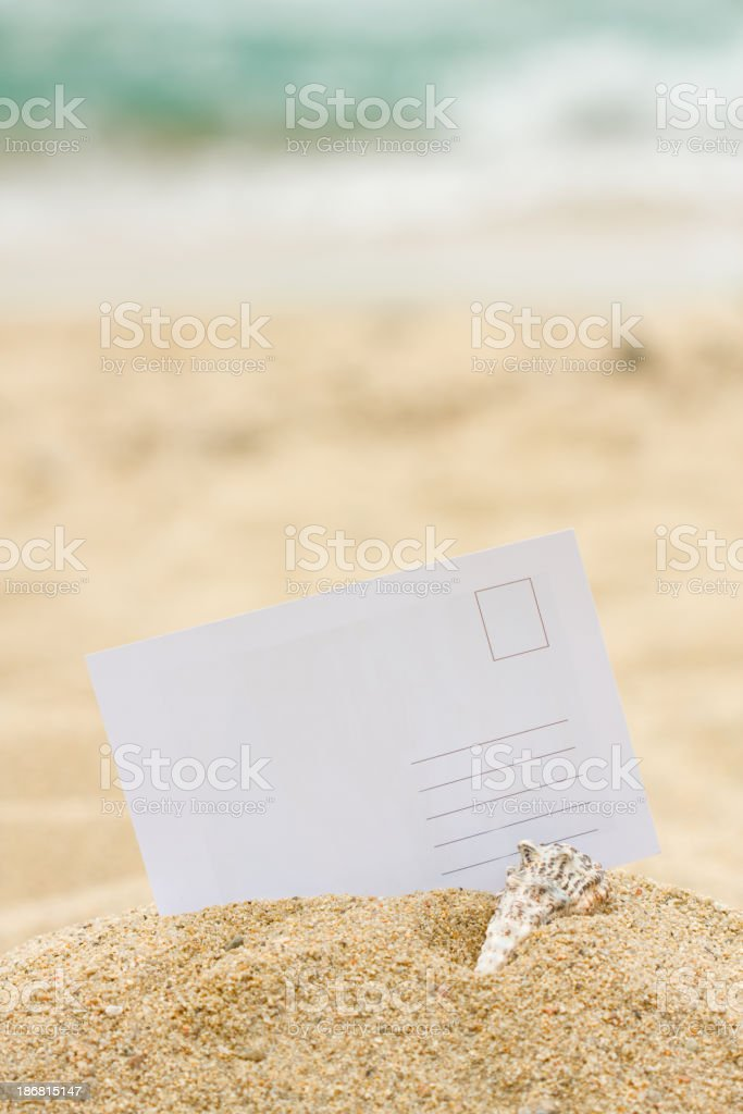 Blank postcard embedded in a sandy beach royalty-free stock photo