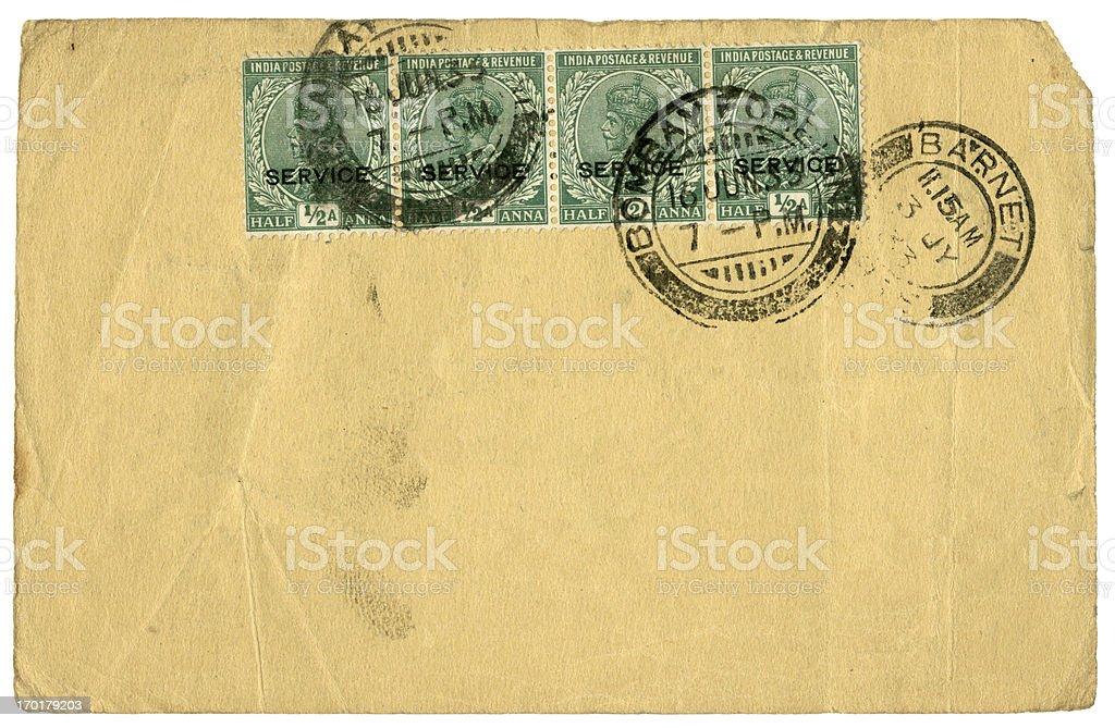 Blank postcard from Bombay diverted via Barnet, England, 1933 royalty-free stock photo