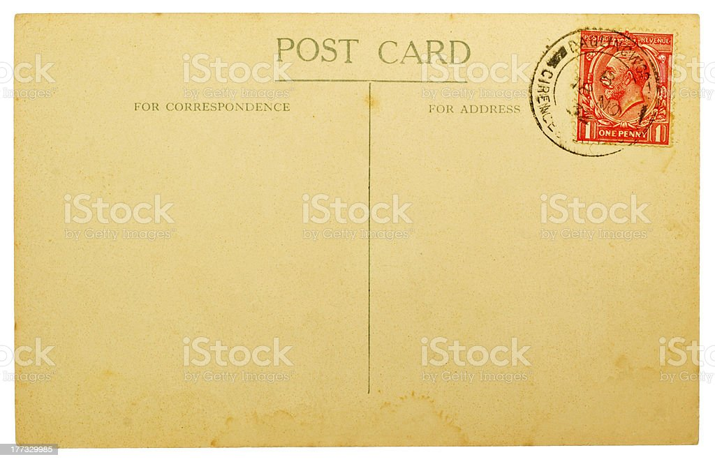 Blank Postcard with Vintage British Stamp stock photo