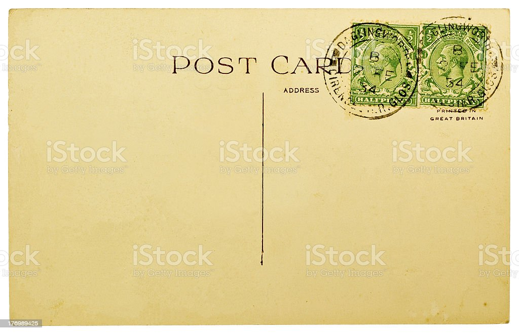 Blank Postcard with Vintage British Stamps stock photo
