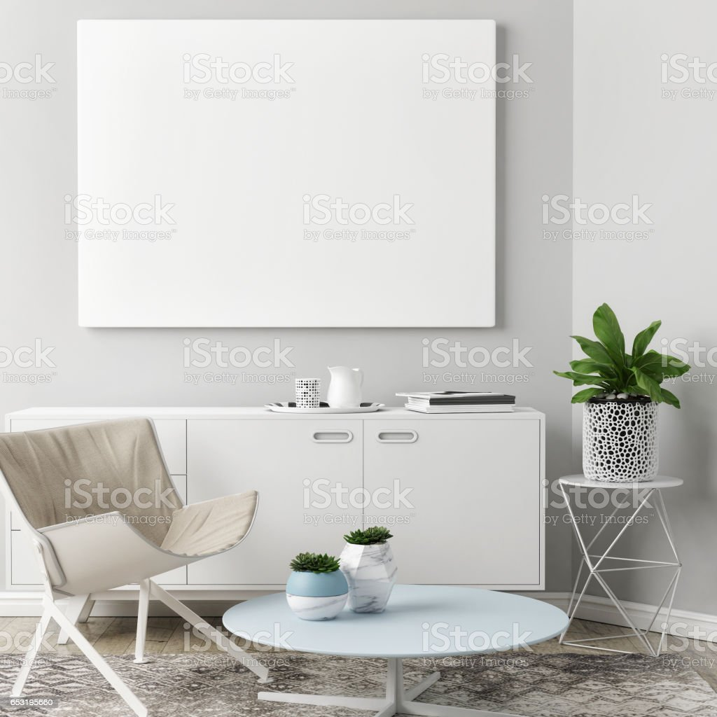 Blank poster in Living room Background stock photo