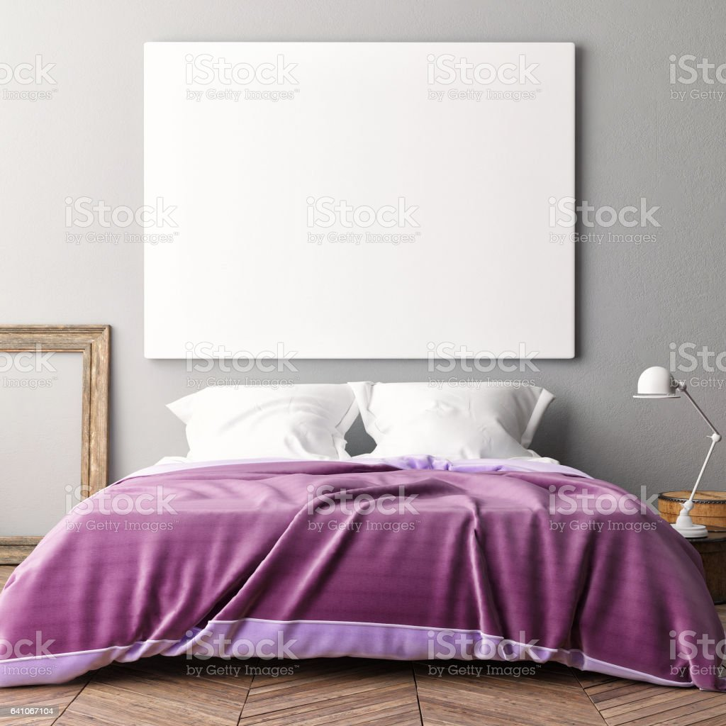 Blank poster on bedroom wal stock photo