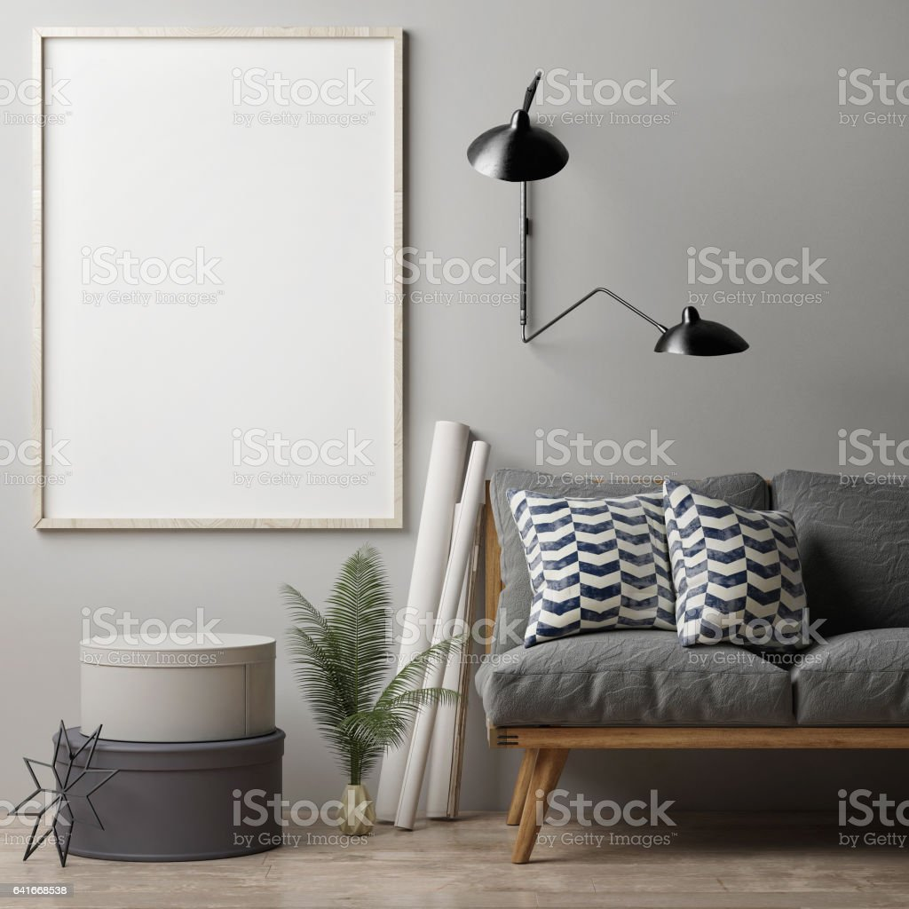 Blank poster on grey wall stock photo