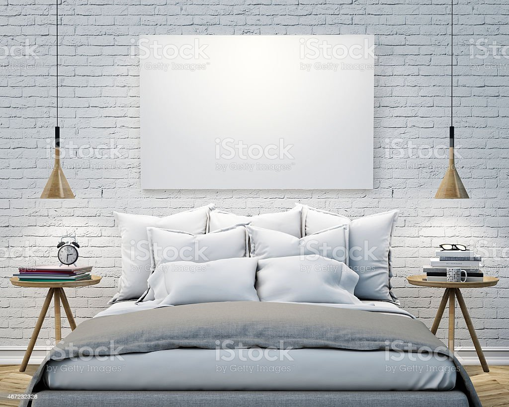 blank poster on the wall of bedroom, mock up background stock photo