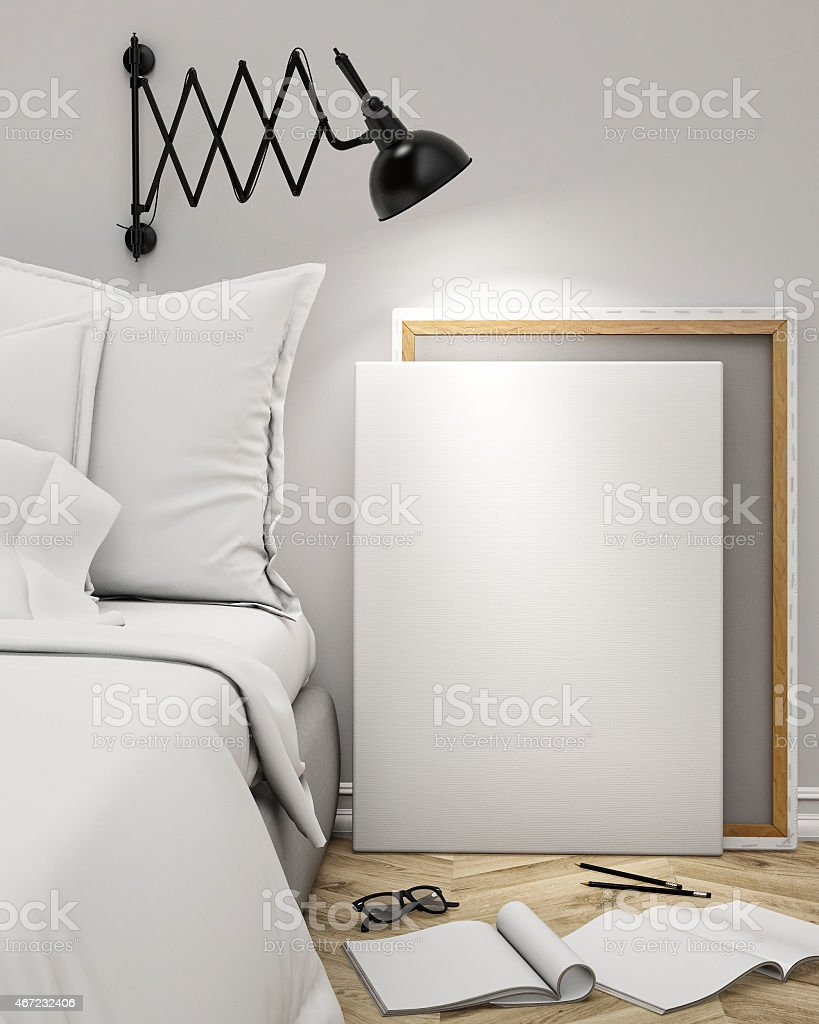 Mock ups of one bedroom two bedroom and three bedroom apartments - Blank Poster On The Wall Of Bedroom Mock Up Background Royalty Free Stock Photo