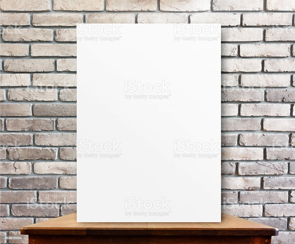 Blank Kitchen Wall Blank Poster On Wood Table At Brick Wallperspective Background