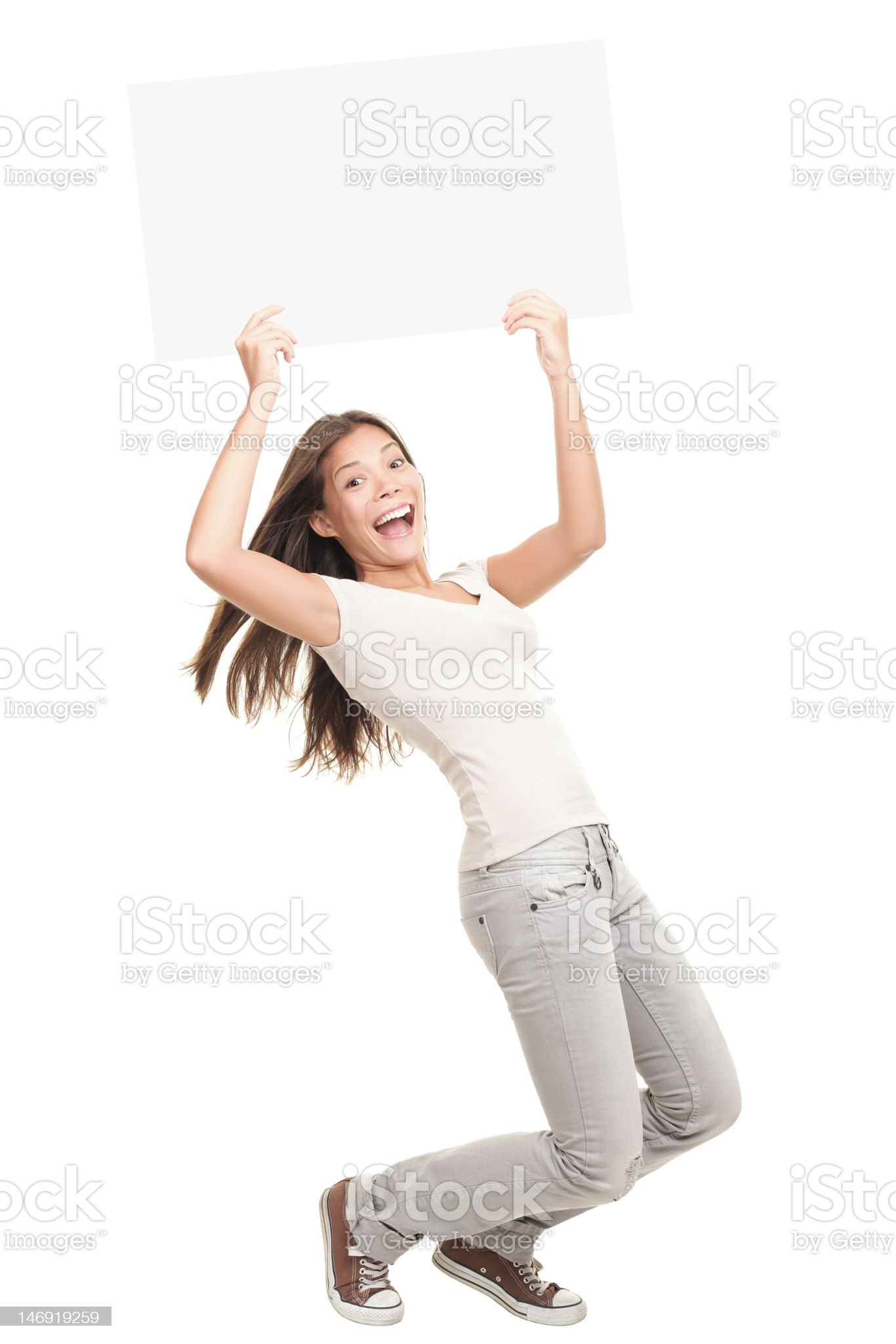 Blank poster sign woman excited royalty-free stock photo