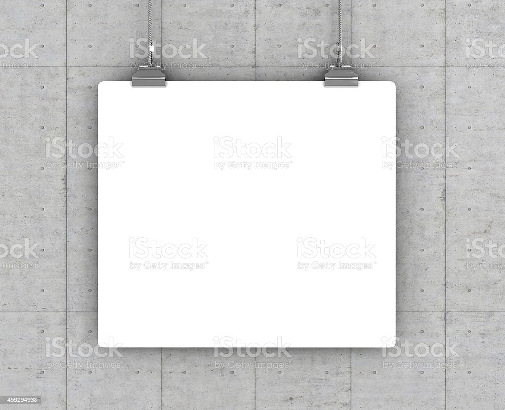Blank poster with clipboards on vertical background stock photo