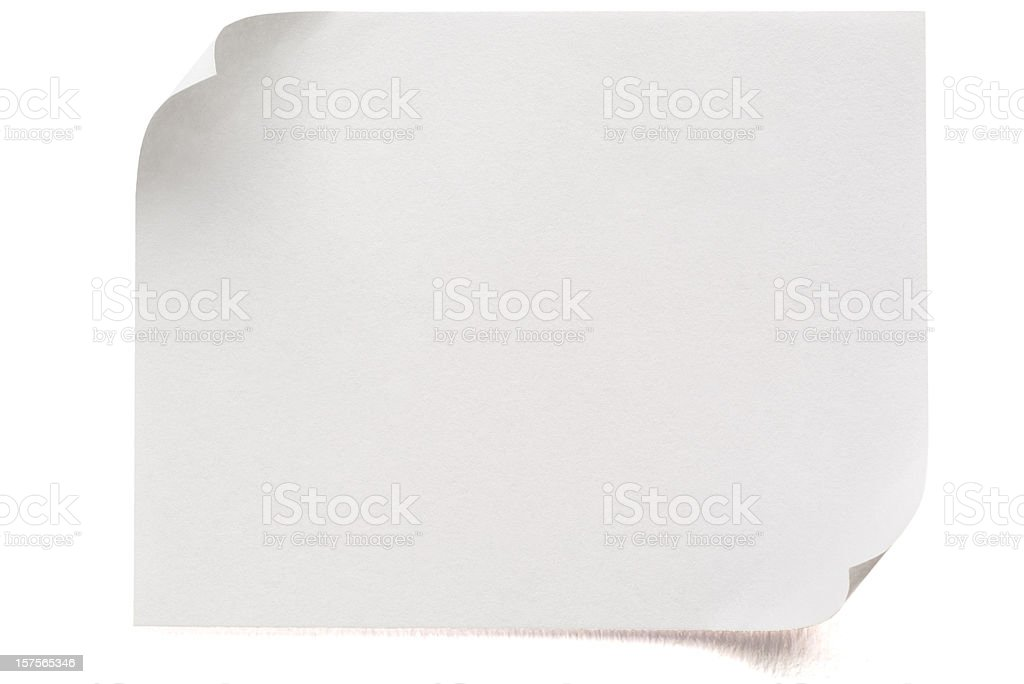 Blank Postit Note (with clipping path) on white royalty-free stock photo