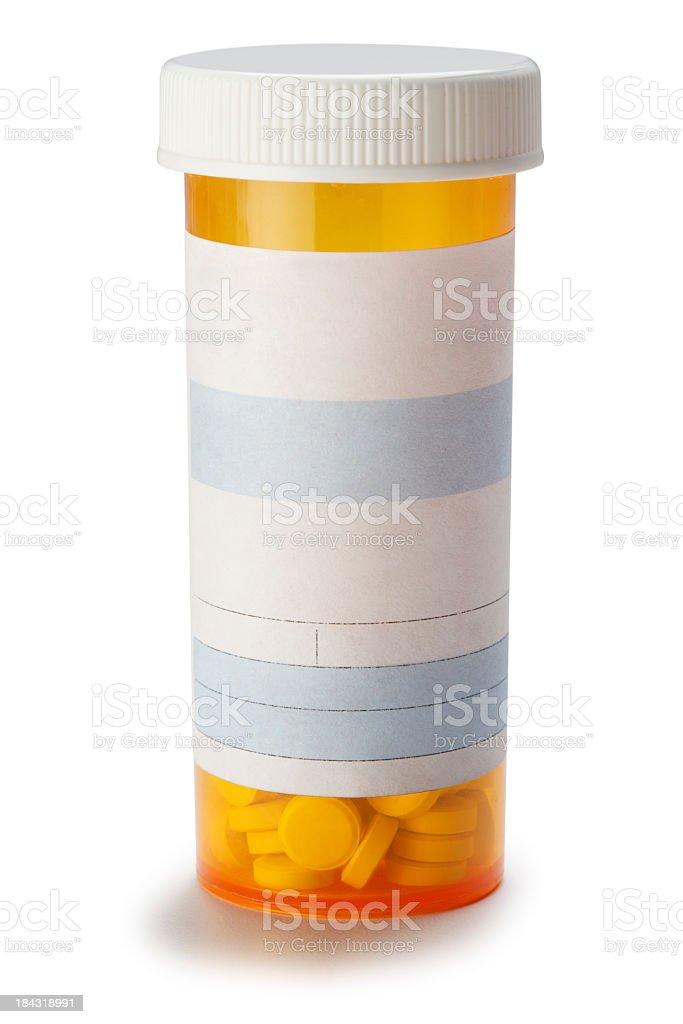 Blank prescription medication bottle on white background. stock photo