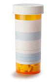Blank prescription medication bottle on white background.
