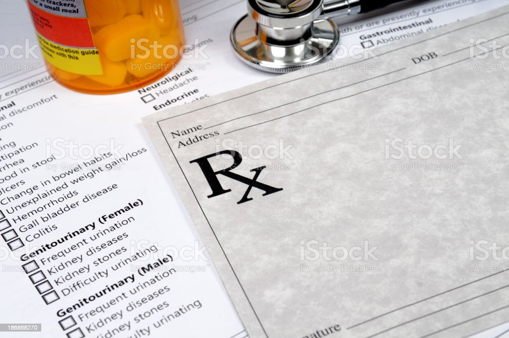 Blank prescription pad and other medical elements stock photo