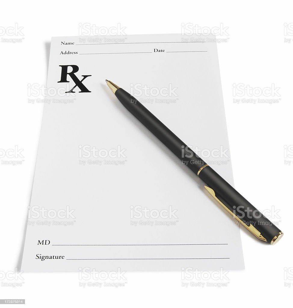 Blank prescription paper and pen stock photo