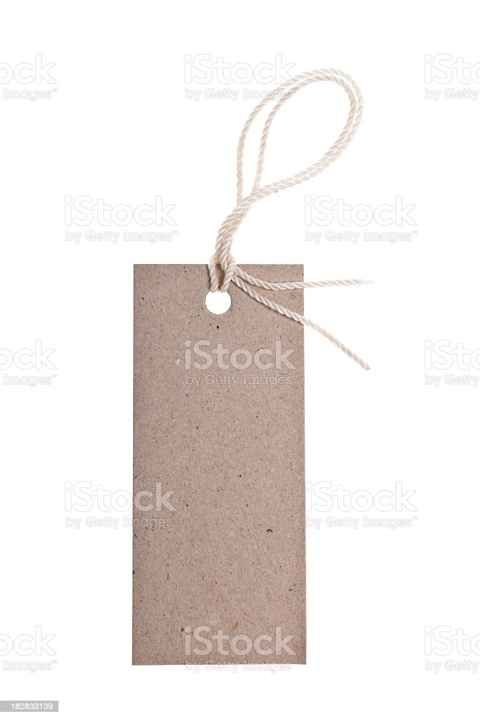 Blank price tag isolated on white background stock photo