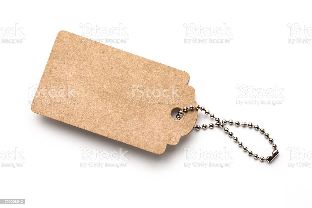 Blank price tag with chain stock photo