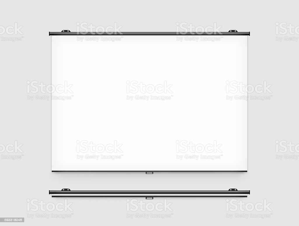 Blank projector screen mockup on the wall stock photo