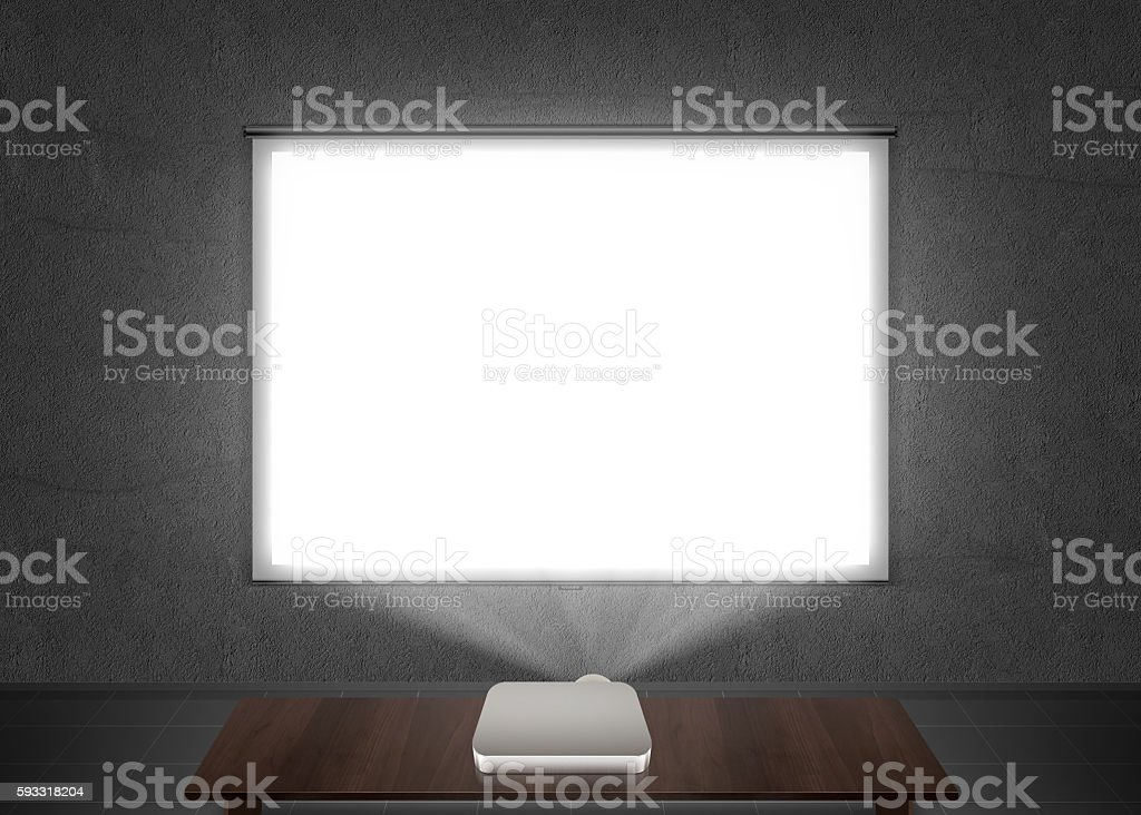Blank projector screen mockup on the wall. stock photo