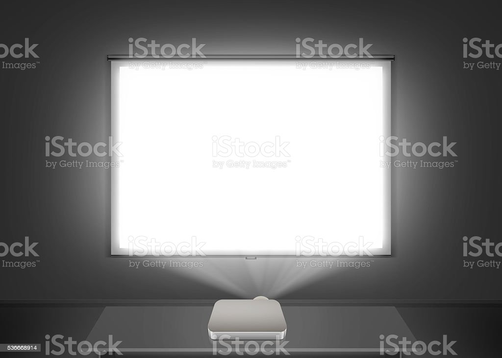 Blank projector screen mockup on the wall. Projection light stock photo