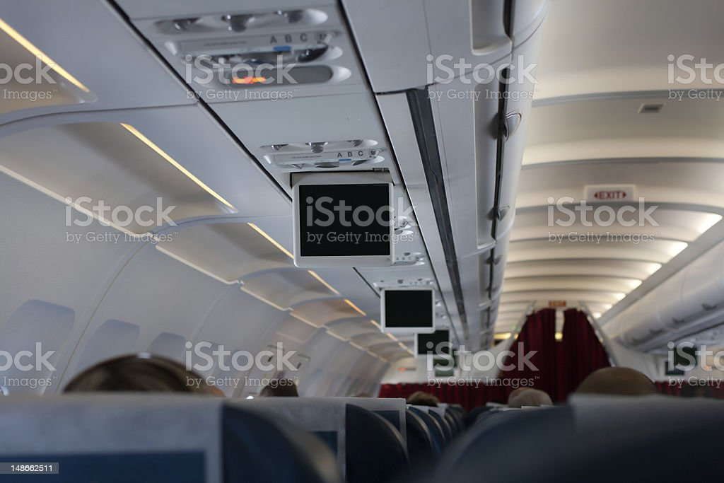 Blank pull down television screen during air flight stock photo