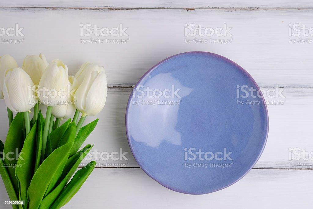 Blank purple dish. stock photo