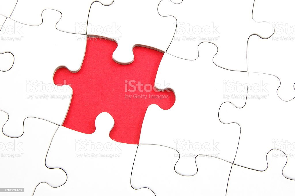 blank puzzle with missing piece stock photo