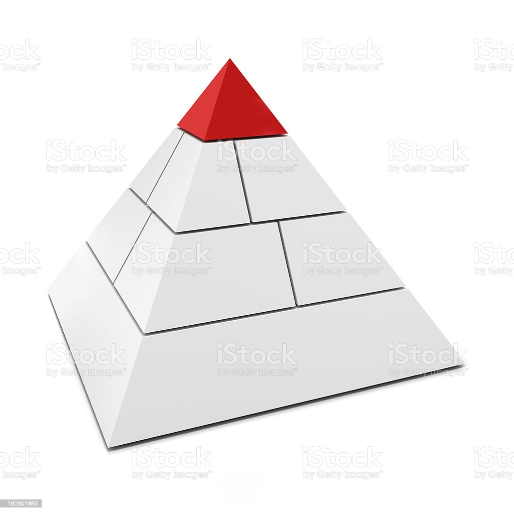 Blank pyramid with top piece in red royalty-free stock photo