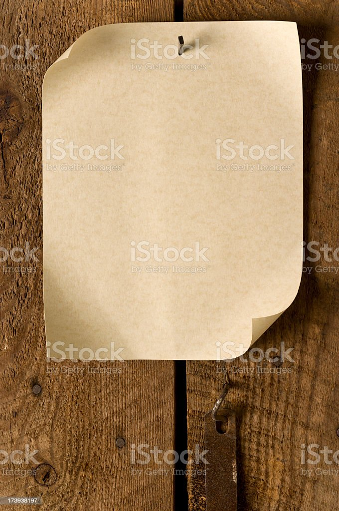 "Blank ""Wanted"" Poster Nailed to Old Weathered Wood. royalty-free stock photo"