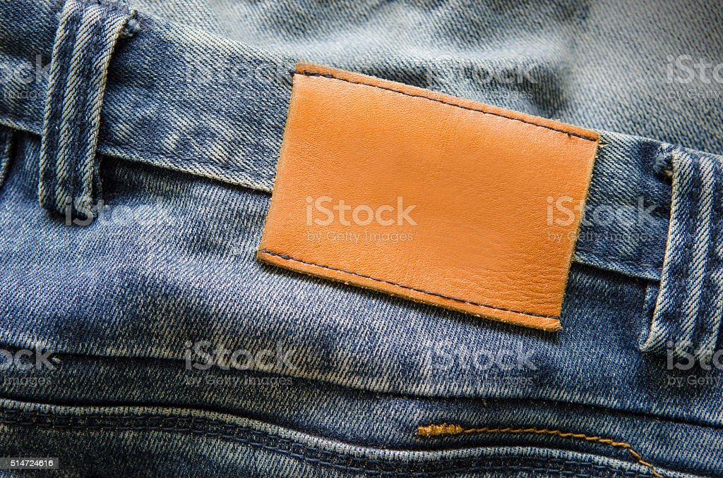 Blank real leather jeans label stock photo