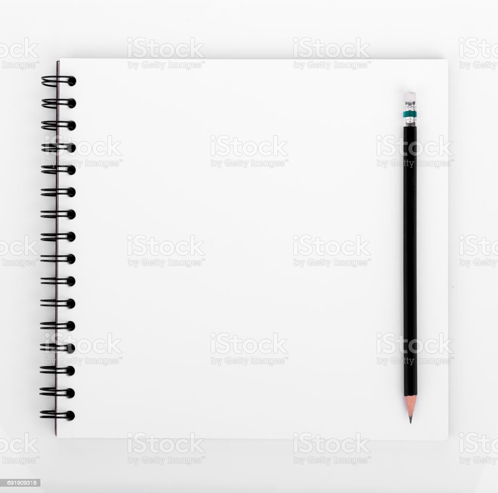 blank realistic spiral notebook and pencil isolated on white background stock photo