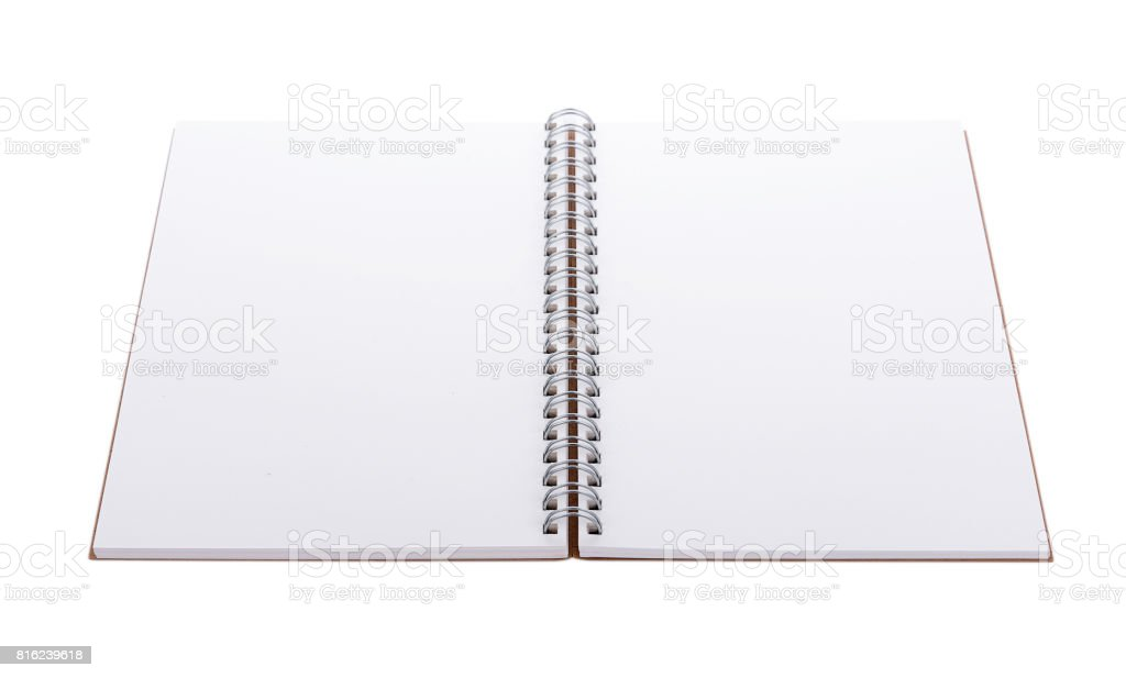 blank realistic spiral notebook isolated on white background stock photo