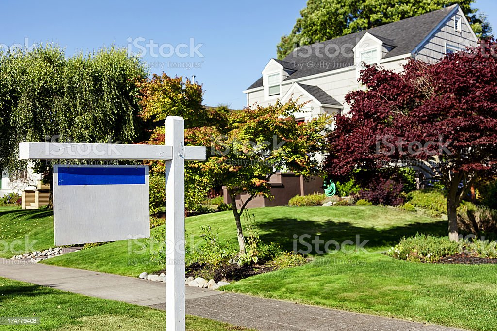 Blank Realtor Sign in Suburbs royalty-free stock photo