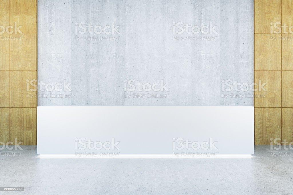 Blank reception desk front stock photo