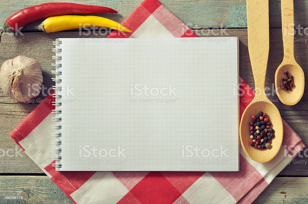 Blank recipe book page with spoons and ingredients stock photo