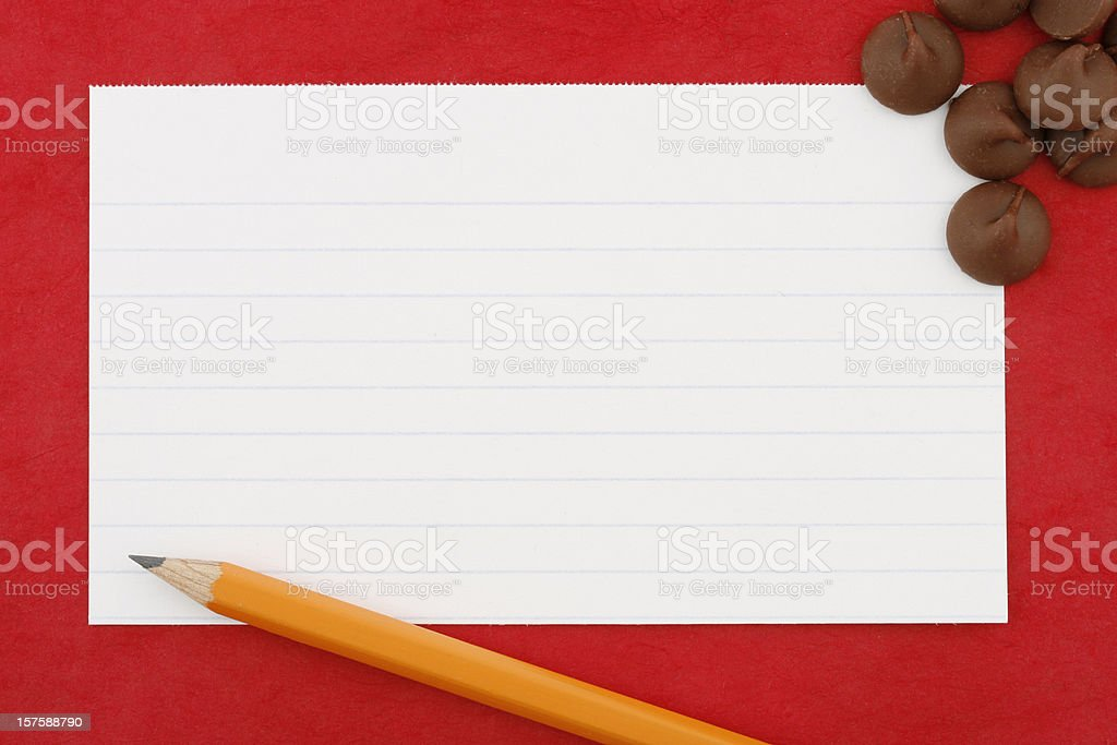 Blank Recipe Index Card with Chocolate Chips and Pencil royalty-free stock photo