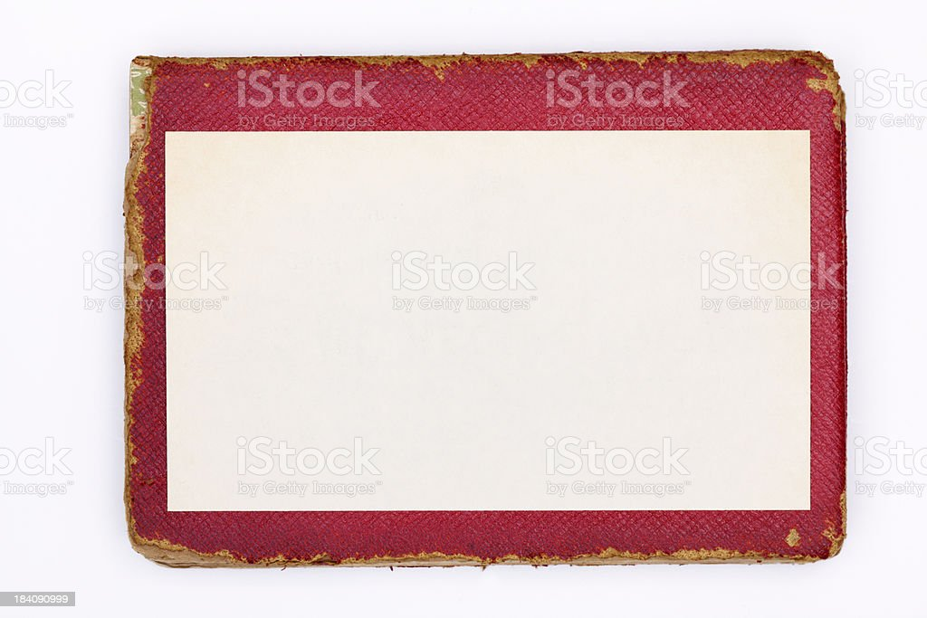 Blank Recipe Ingredients Index Card & Old Red Leather Cookbook royalty-free stock photo