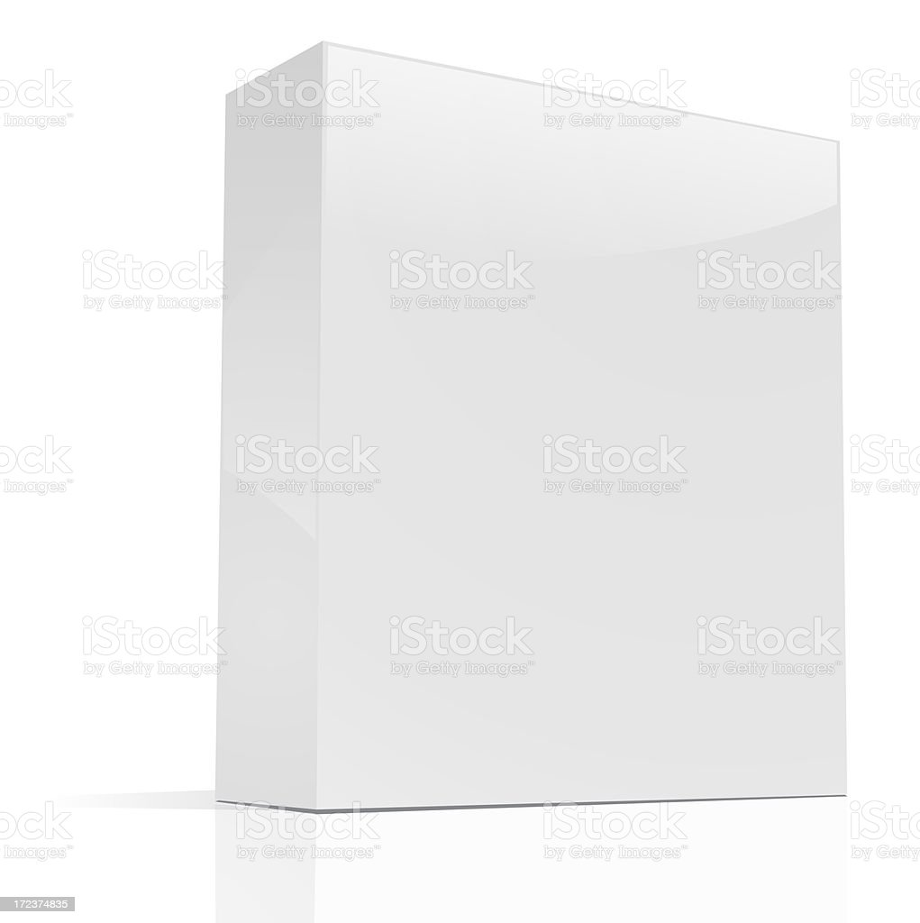 Blank rectangular box standing up on a white background stock photo