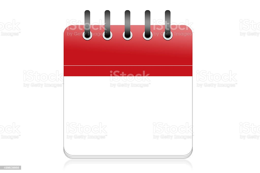 Blank red calender page stock photo