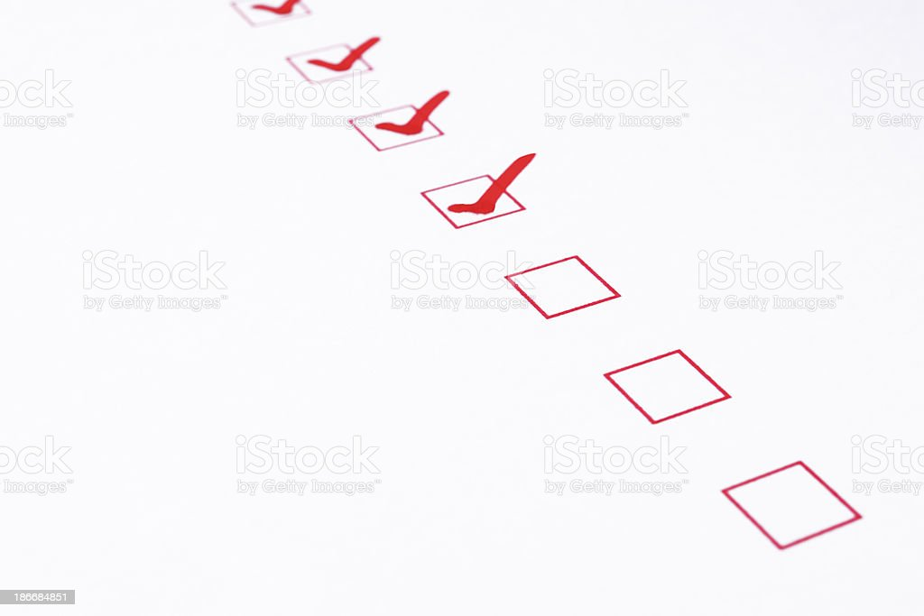 Blank red checkbox with check mark royalty-free stock photo