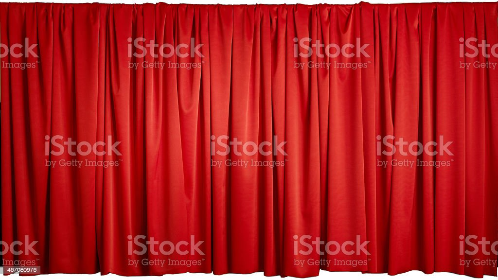 Blank red curtain on a white background stock photo