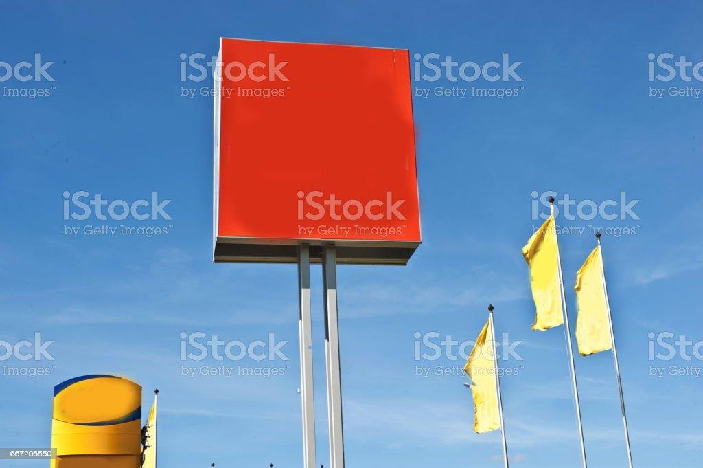 Blank Red Customizable Advertisement Board stock photo