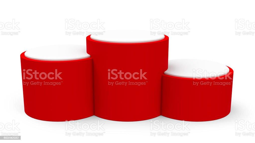 Blank red cylinder podium stock photo