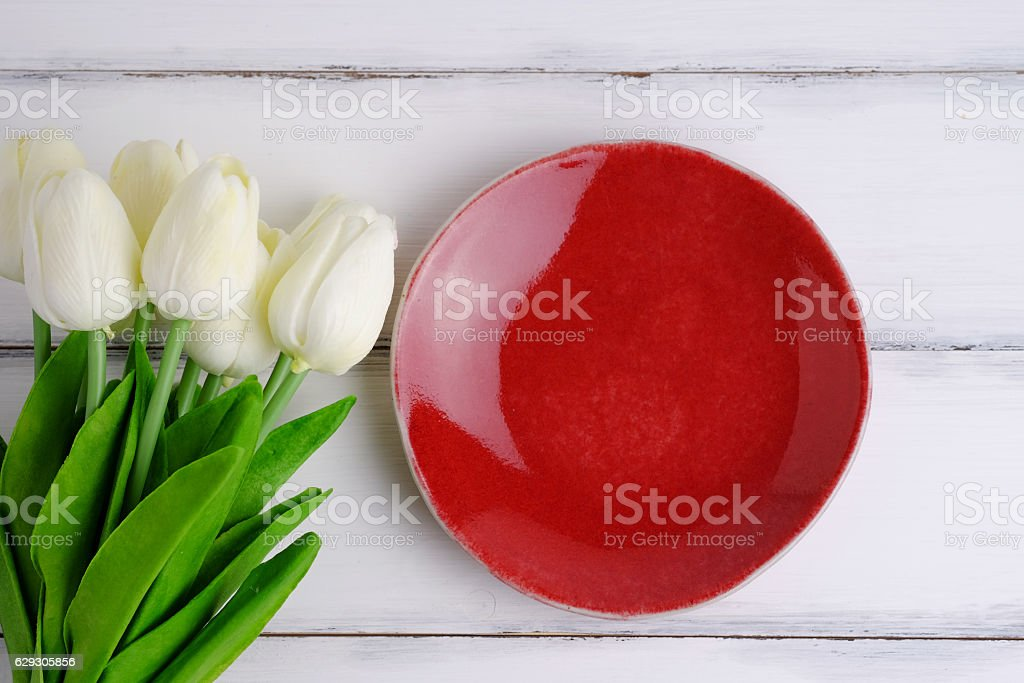 Blank red dish. stock photo