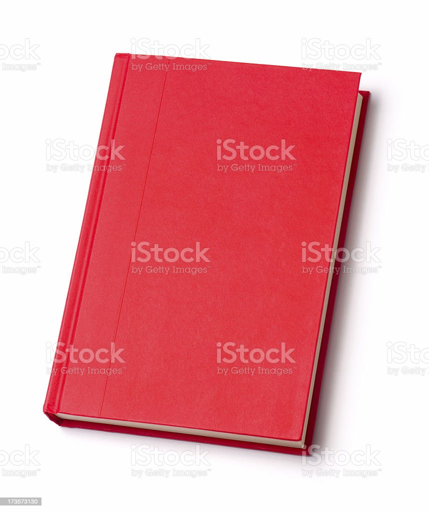 Blank red hardback book stock photo