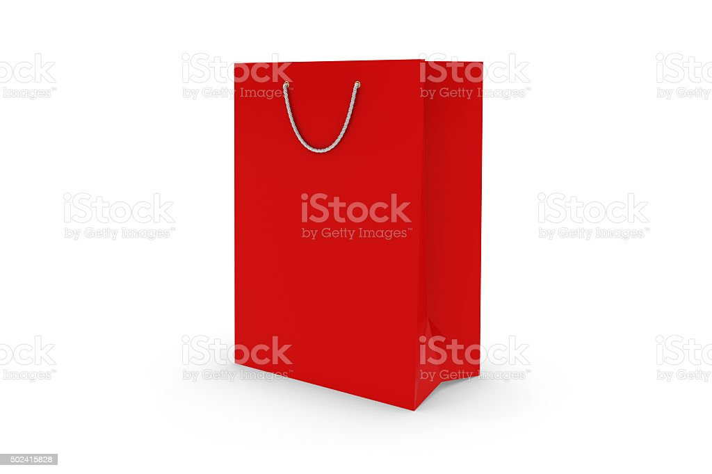 Blank Red Paper Shopping Bag Isolated on White stock photo